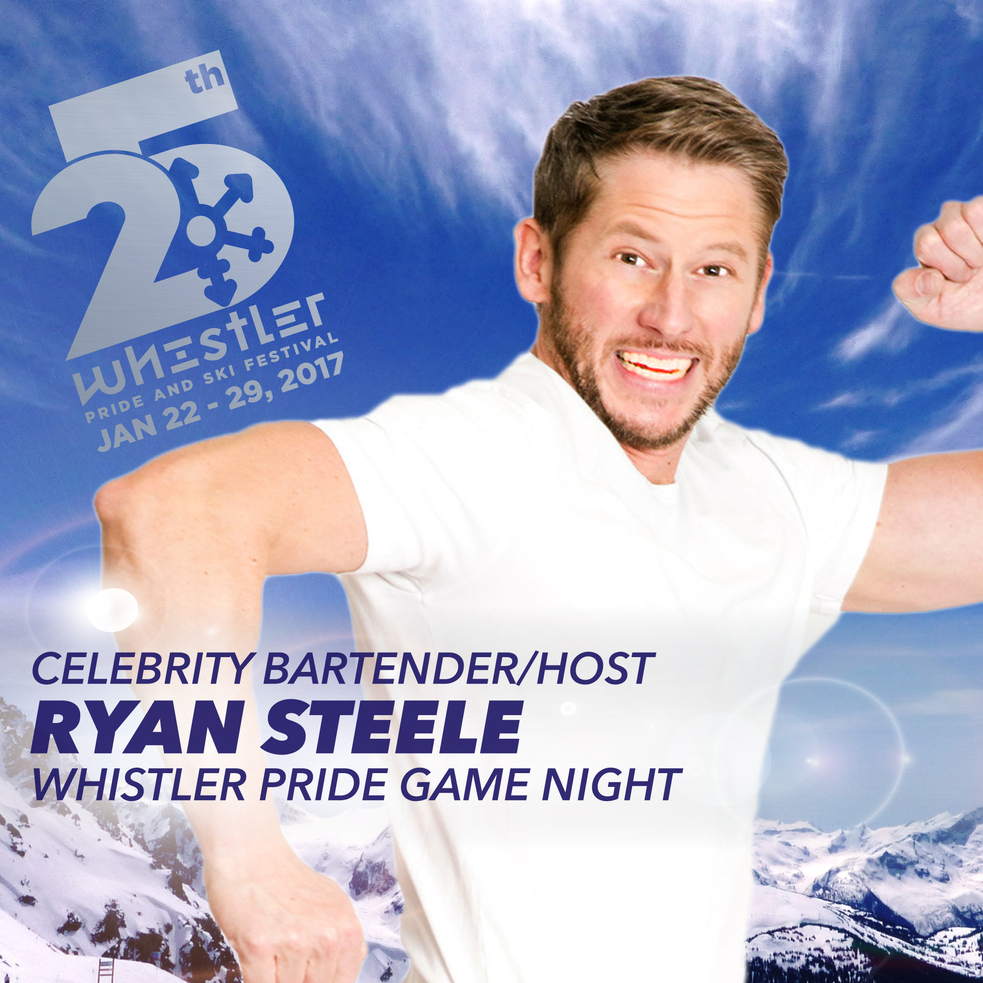 Ryan Steele Celebrity bartender and Game Host at Whistler Pride and Ski Festival