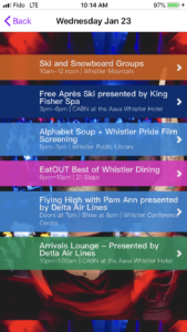 Whistler Pride Festival App Daily Schedule